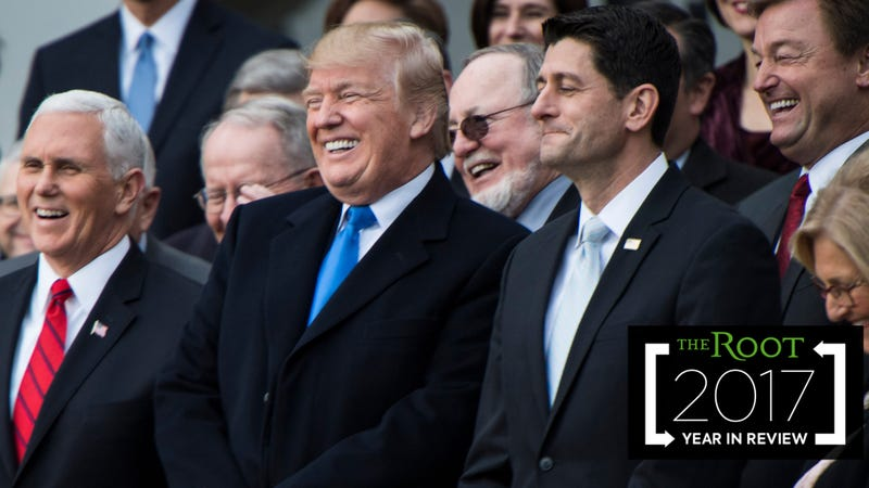 President Donald Trump (center) with Vice President Mike Pence (left) and House Speaker Paul Ryan (right) at the White House in Washington, D.C., on Dec. 20, 2017 (Jabin Botsford/the Washington Post via Getty Images); photo illustration by Sam Woolley/GMG