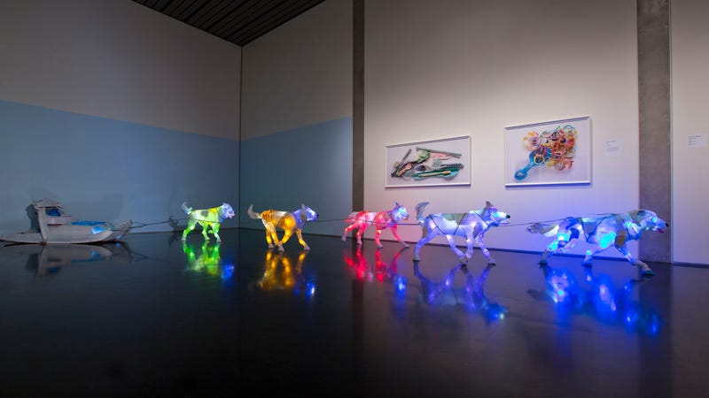 Illustration for article titled These Glowing Dogs Are Made From Trash Pulled From the Ocean