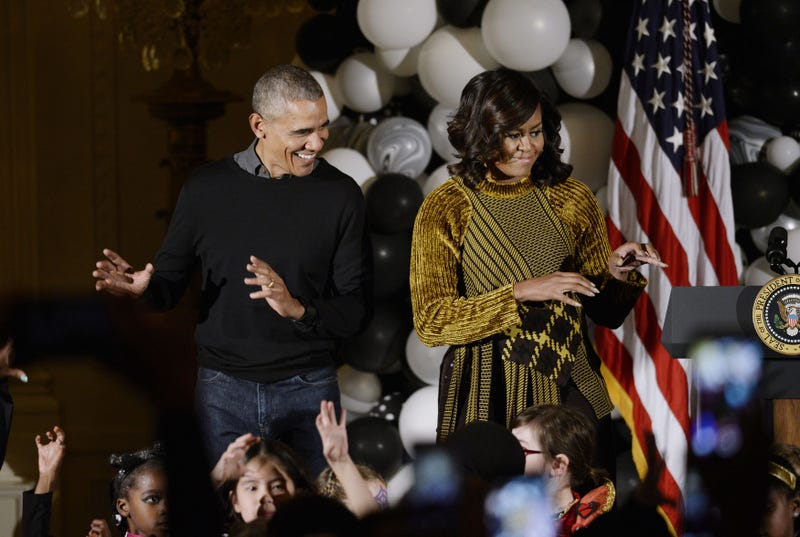 U.S. President Barack Obama and first lady Michelle Obama dance to Michael Jackson's song 'Thriller' during a Halloween event in the East Room of the White House October 31, 2016 in Washington, DC.