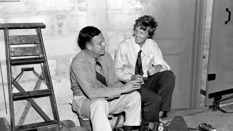 Amelia Earhart and the husband of Amelia Earhart. Image via the AP.
