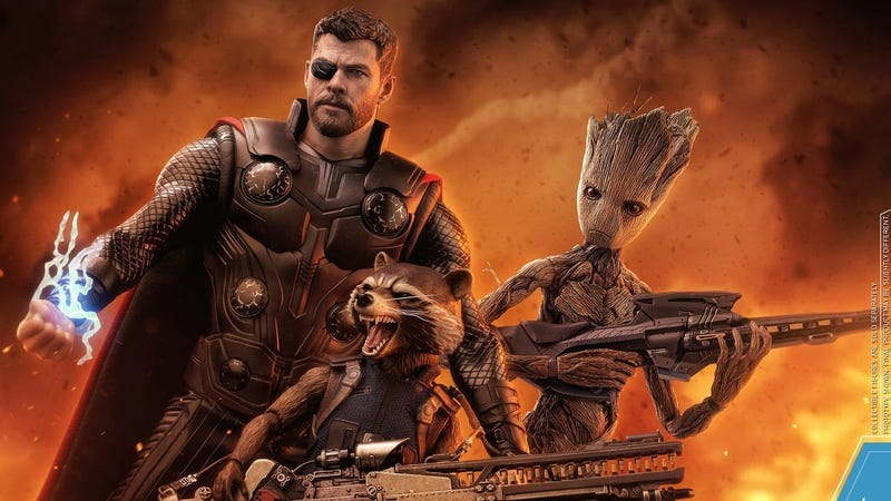 Thor, Rocket and Groot from Avengers: Infinity War by Hot Toys.