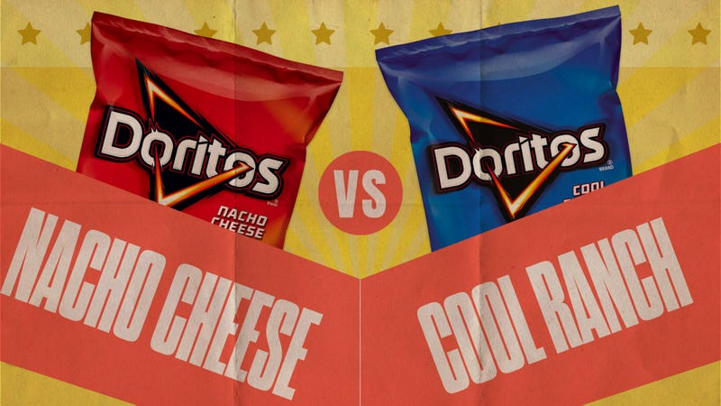 Illustration for article titled Let's settle the Doritos debate: Nacho Cheese vs. Cool Ranch