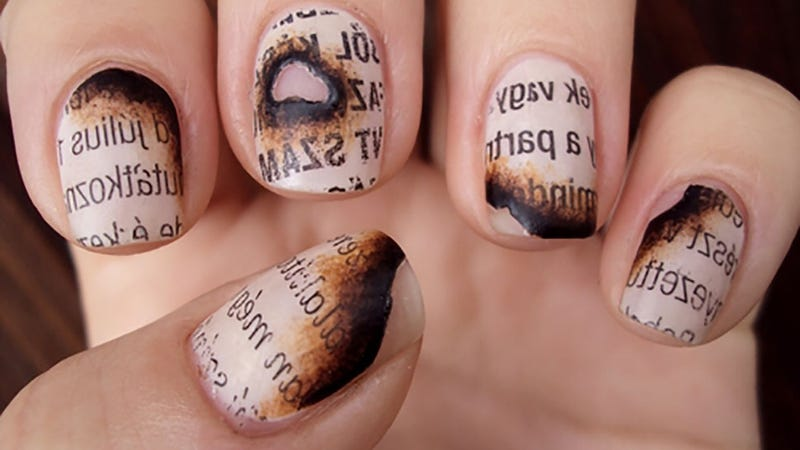 This burned paper manicure is perfect for banned books week prinsesfo Image collections