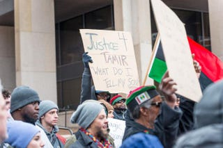 Demonstrators gather outside the Justice Center on Dec. 29, 2015, in Cleveland. Protesters took to the street the day after a grand jury declined to indict Cleveland Police Officer Timothy Loehmann for the fatal shooting of Tamir Rice on Nov. 22, 2014.Angelo Merendino/Getty Images