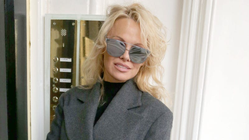 Pamela Anderson entering the Ecuadorian Embassy in London, where Julian Assange lives