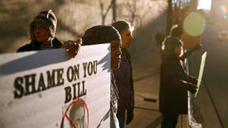 Protesters demonstrate outside Bill Cosby's comedy show Jan. 17, 2015, at the Buell Theater in Denver.Marc Piscotty/Getty Images