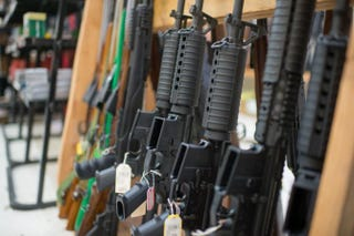 Guns are on display at Roseburg Gun Shop in Roseburg, Oregon, on October 2, 2015.Photo by CENGIZ YAR, JR./AFP/Getty Images