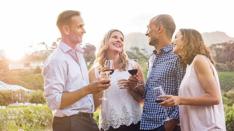 People at a wine tasting.