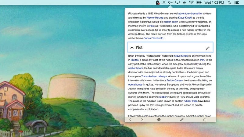 Illustration for article titled Qwiki for Mac Lets You Search and Read Wikipedia Directly From Your Menu Bar