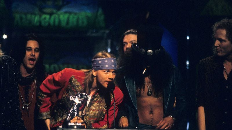 Guns N' Roses at the MTV Music Awards in 1992. (Photo: Getty Images)