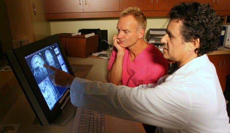 Don't scan so close to me: Neuroscientist Daniel Levitin shows Sting his cerebellum. (Image: Owen Egan)