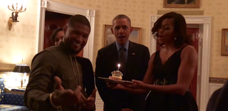 Usher and his wife, Grace, with President Barack Obama and first lady Michelle ObamaYouTube screenshot
