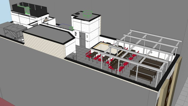 Rendering of Chick-fil-A rooftop via Chick-fil-A