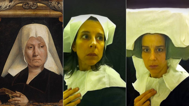 Illustration for article titled Genius Artist Recreates 15th Century Portraits in Airplane Lavatory