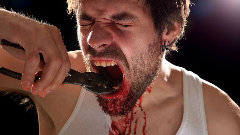 Illustration for article titled Proactive Man Removes Own Teeth In Attempt To Curb Nail-Biting Habit