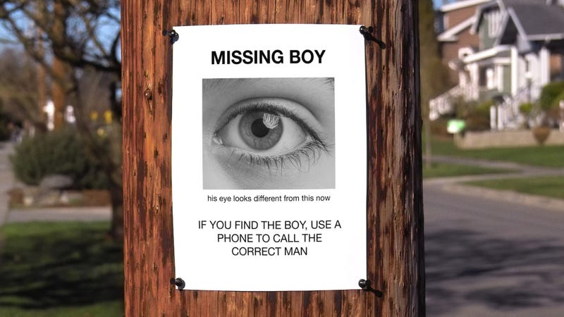 Extremely Unhelpful: This Poster For A Missing Child Features Nothing But A Close-Up Photo Of The Kid's Eyeball