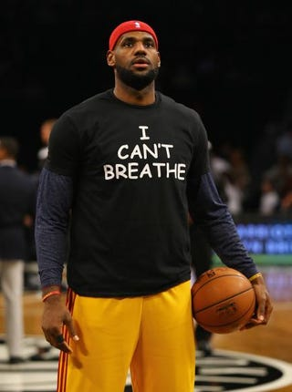 "LeBron James of the Cleveland Cavaliers wears an ""I Can't Breathe"" shirt during warm-ups before his game against the Brooklyn Nets at the Barclays Center Dec. 8, 2014, in New York City.Al Bello/Getty Images"