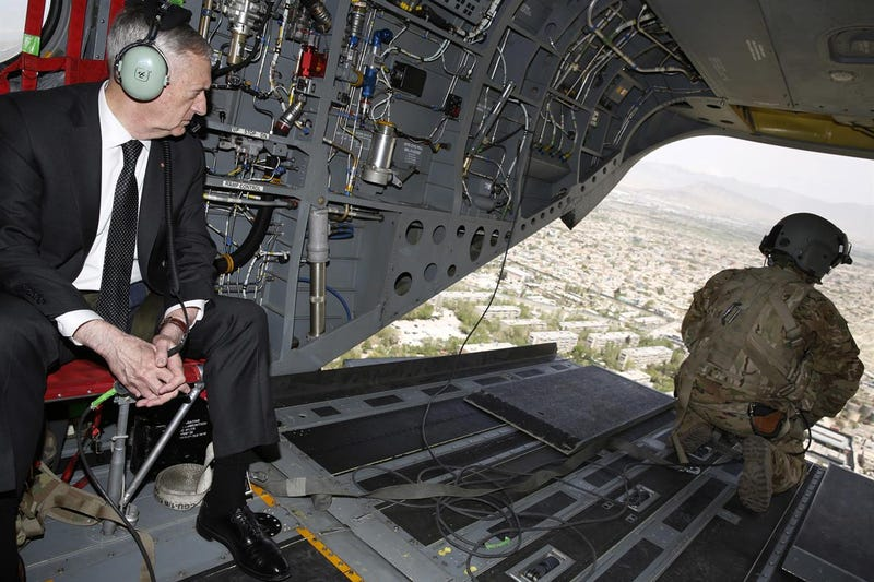 U.S. Defense Secretary James Mattis looks out over Kabul as he arrives via helicopter at Resolute Support headquarters on April 24, 2017 in in Kabul, Afghanistan. Photo credit Getty Images