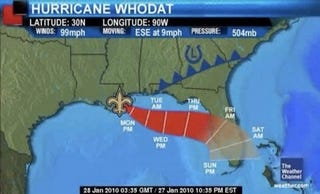 Illustration for article titled The Always-Controversial Weather Channel Sees A Hurricane WhoDat Comin'