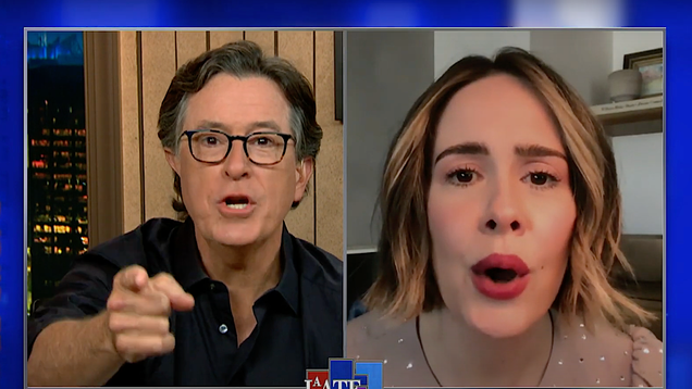 Sarah Paulson and Stephen Colbert get goofy talking Ratched, getting looped with Cate Blanchett