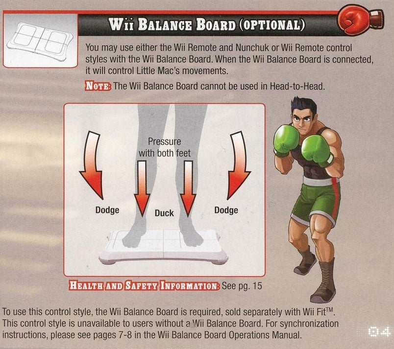 punch out balance board controls work like this rh kotaku com Wii User Guide Nintendo Wii Directions
