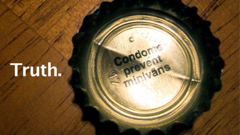 Illustration for article titled How a mom came up with the 'Condoms prevent minivans' bottle cap slogan