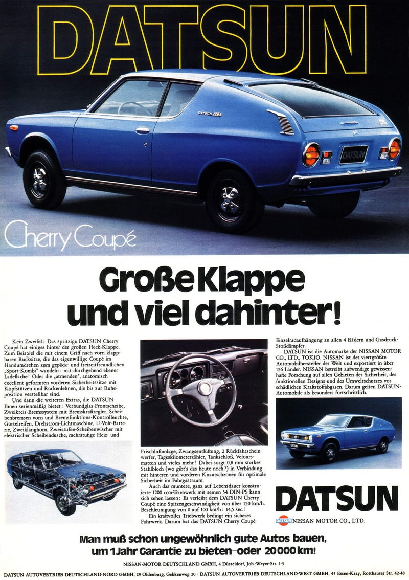 Illustration for article titled Datsun Cherry 120A ad - German (1445x2048)