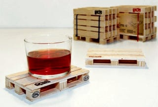 Illustration for article titled Drinks Placed on Pallet Coasters Should Be Served by A Tiny Man Driving a Diminutive Forklift