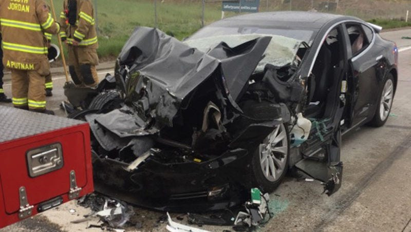 The owner's Model S following the crash