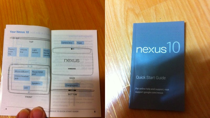 Illustration for article titled Rumor: This Nexus 10 User Manual Leaks Google's 10-Inch Tablet