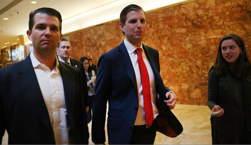 The Trump Sons at the Tower named for daddy. Photo via Getty
