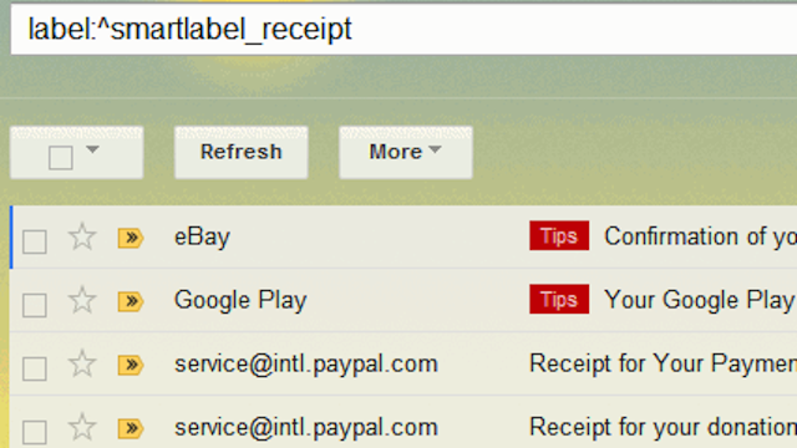 find receipts in gmail with this hidden smart label