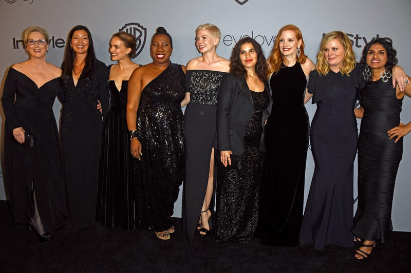 Meryl Streep, activist Ai-jen Poo,  Natalie Portman, activist Tarana Burke,  Michelle Williams,  America Ferrera,  Jessica Chastain,  Amy Poehler and activist Saru Jayaraman attend the 19th annual Post-Golden Globes party hosted by Warner Bros. Pictures and InStyle at the Beverly Hilton Hotel on Jan. 7, 2018, in Beverly Hills, Calif.