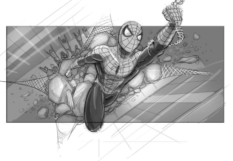 An unused storyboard for Sam Raimi's cancelled Spider-Man 4 by artist Jeffrey Henderson. All Images: Courtesy of Jeffrey Henderson