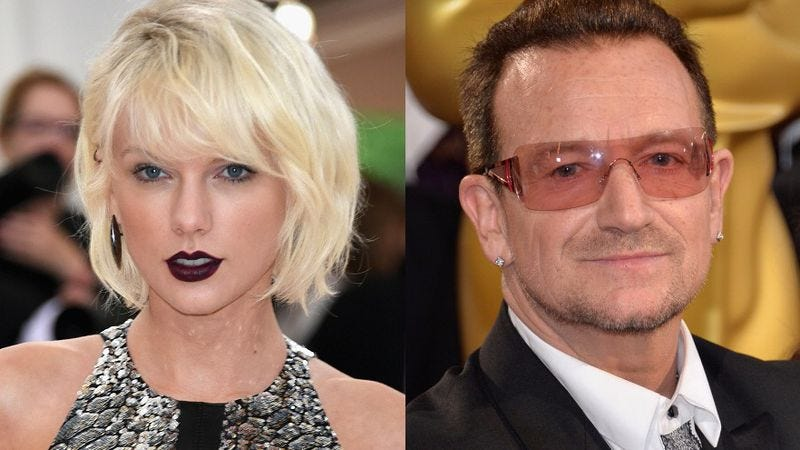 Taylor Swift; Bono (Photos: Larry Busacca/Getty Images; Michael Buckner/Getty Images)