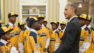 President Barack Obama welcomes the Jackie Robinson West team to the Oval Office Nov. 6, 2014.Official White House photo by Pete Souza