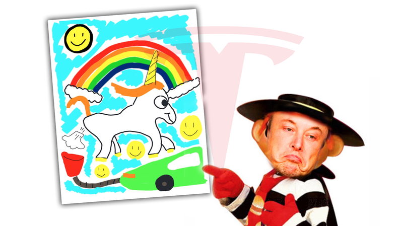 Illustration for article titled Tesla Used An Artist's Work Without Permission And Elon Musk Was Unsurprisingly An Ass About It