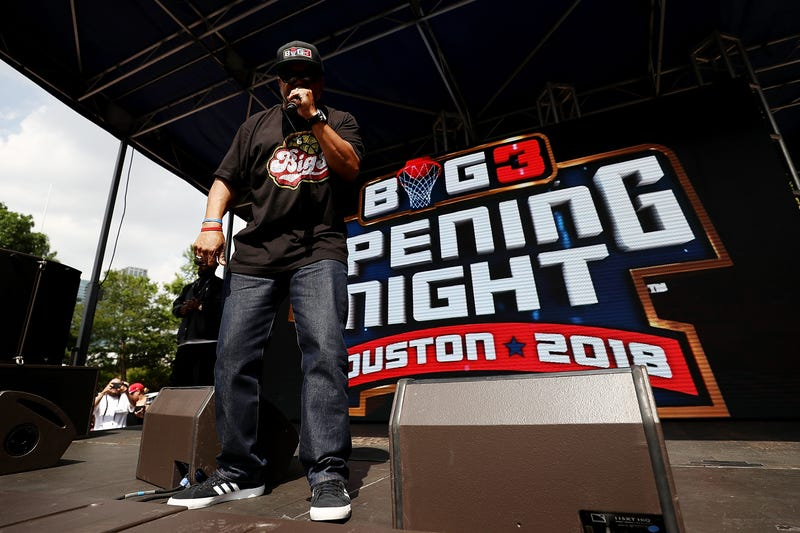 Ice Cube performs during week 1 of the Big3 three-on-three basketball league at Toyota Center on June 22, 2018, in Houston.