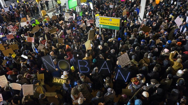 Protesters outside JFK Airport demonstrate against the immigration ban, January 28, 2017. Photo via AP.