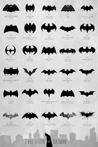Illustration for article titled 72 Years of Batman Logos on a Single Poster