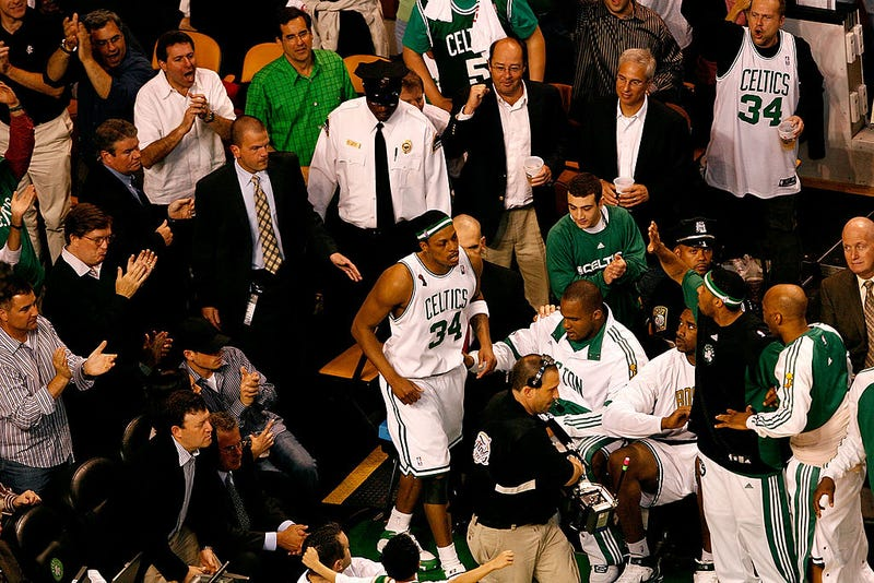 Paul Pierce #34 of the Boston Celtics returns to the court after being taken off in a wheelchair in the third quarter of Game One of the 2008 NBA Finals against the Los Angeles Lakers on June 5, 2008.