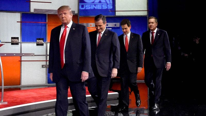 Illustration for article titled Fox Producers Attempt To Tire Out Aggressive Candidates Before Debate By Letting Them Run Around Outside