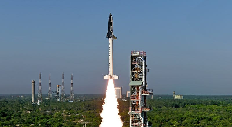 The Reusable Launch Vehicle-Technology Demonstrator (RLV-TD) takes flight (Image: ISRO)