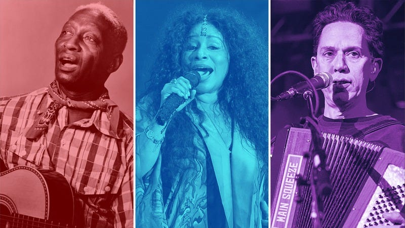 Leadbelly (Michael Ochs Archives/Getty Images), Chaka Khan (Suhaimi Abdullah/Getty Images), and They Might Be Giants (Rick Kern/Getty Images). (Graphic: Natalie Peeples)