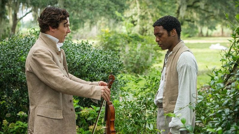 Benedict Cumberbatch and Chiwetel Ejiofor in 2013 BAFTA Best Film 12 Years a Slave