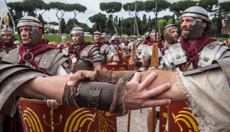 Actors portraying the Roman army. Photo credit: Giorgio Cosulich/Getty