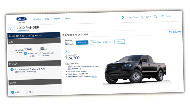 Illustration for article titled The 2019 Ford Ranger Configurator Is Live But Hidden, Still Shows Starting Price of $25,395 [Updated]