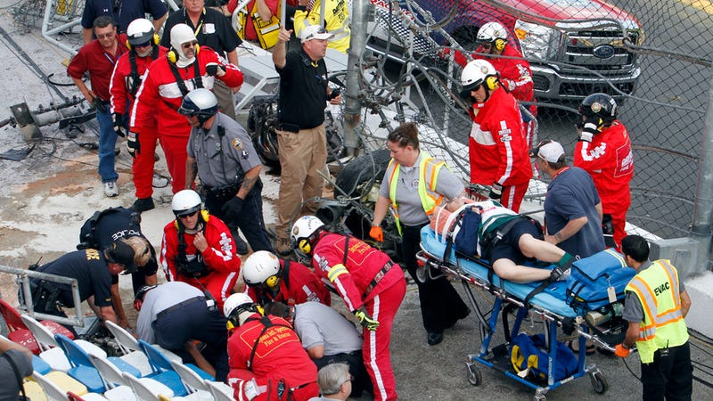 Illustration for article titled Help The NASCAR Fan That Got Hit With A Tire Find The Men Who Saved His Life