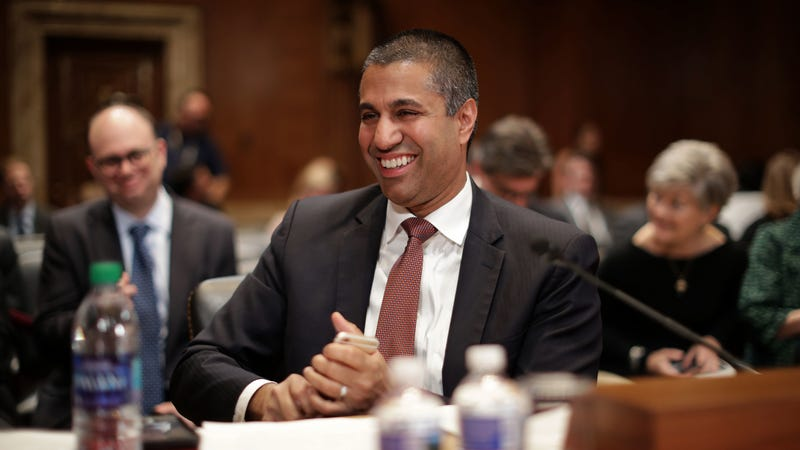 Federal Communication Commission Chairman Ajit Pai prepares to testify before the Senate Financial Services and General Government Subcommittee about his FY2020 budget requests in the Dirksen Senate Office Building on Capitol Hill May 07, 2019 in Washington, DC.