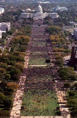 This photograph, taken from the top of the Washington Monument, shows hundreds of thousands of people on the National Mall in front of the U.S. Capitol during the Million Man March in Washington, D.C., Oct. 16, 1995.TIM SLOAN/AFP/Getty Images